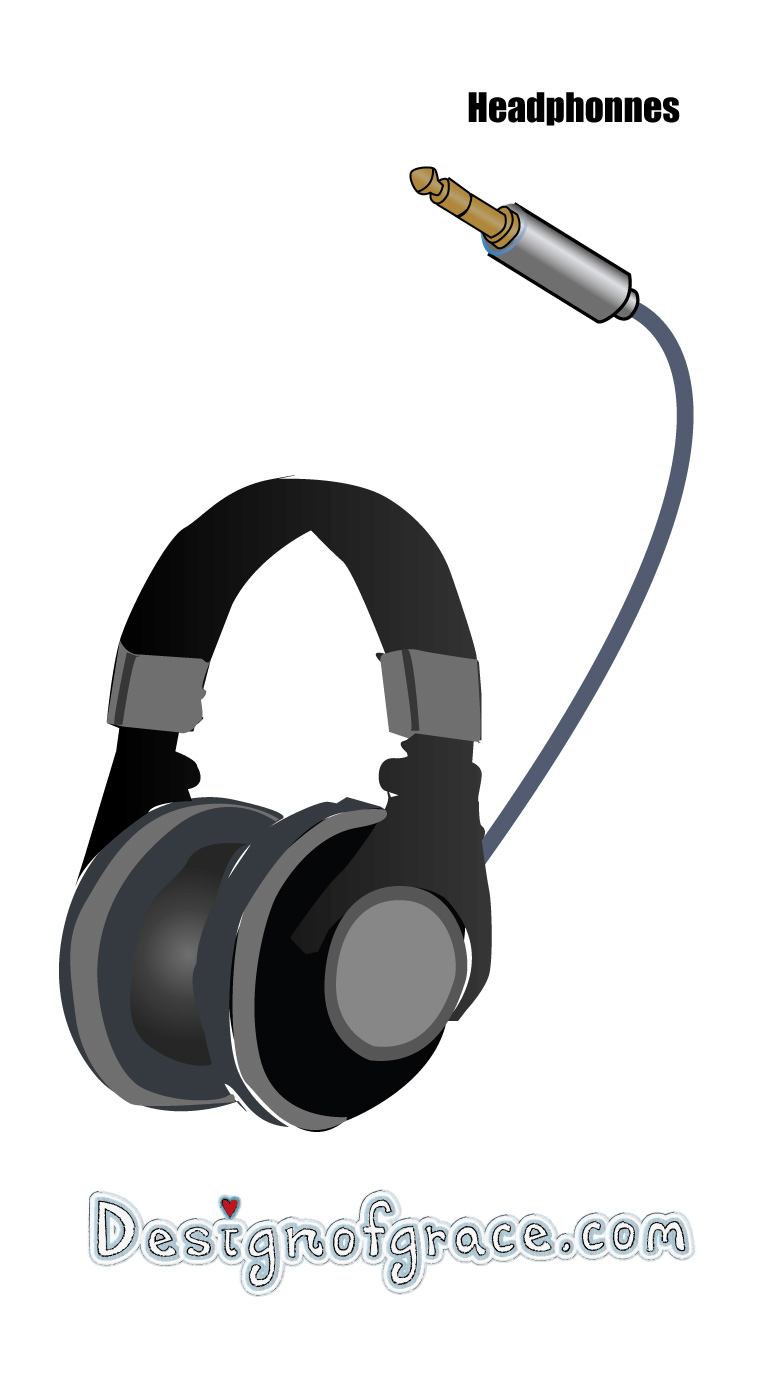 Illustration of a headphone for a home studio setup