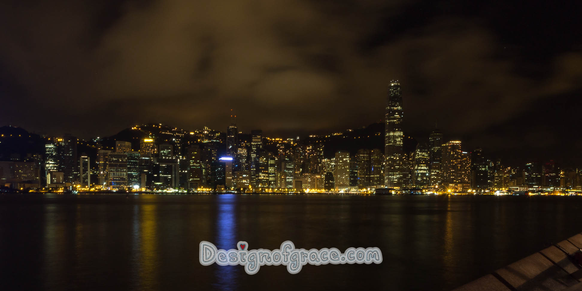 Nitescape of Hong Kong city over the waters