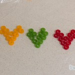 Life Savers in a heart shape formation with 5 different colours