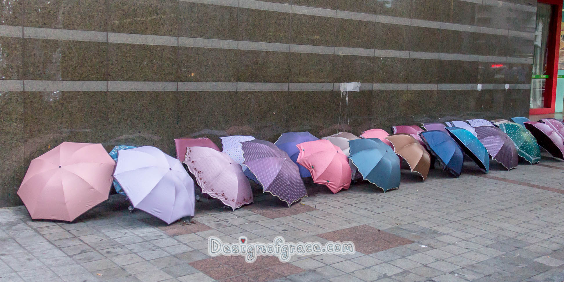 Row of umbrellas After