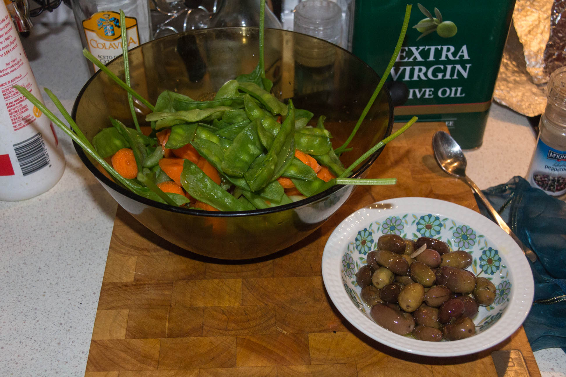 The Salad made with spinach, carrots, celery, tomatoes and peas. For now.. only the spinach is store-bought re-grown. Also the olives is from our tree out back and another success story of my preserving the olives :D SOO HAPPY!