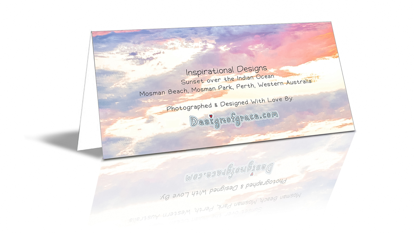 The back of the card with more details such as: Sunset over the Indian Ocean Mosman Beach, Mosman Park, Perth, Western Australia