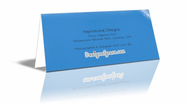 """The back of the card with more details such as: """"Misty Sapphire Pool Yellowstone National Park, Wyoming, USA"""""""