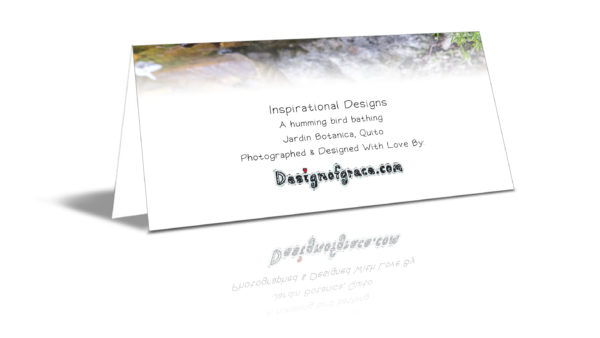 """The back of the card with more details such as: """"Inspirational Designs. A humming bird bathing, Jardin Botanica, Quito. Photographed and Designed with love by designofgrace.com"""""""