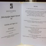 A photo of a menu from the duxton hotel for the Fibromyalgia support network high tea.