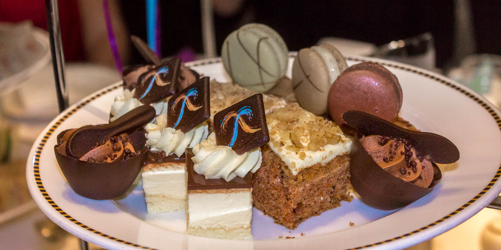 Baileys Irish cream cheesecake, frosted carrot cake, french macarons, Belgium chocolate mousse with chocolate crunch
