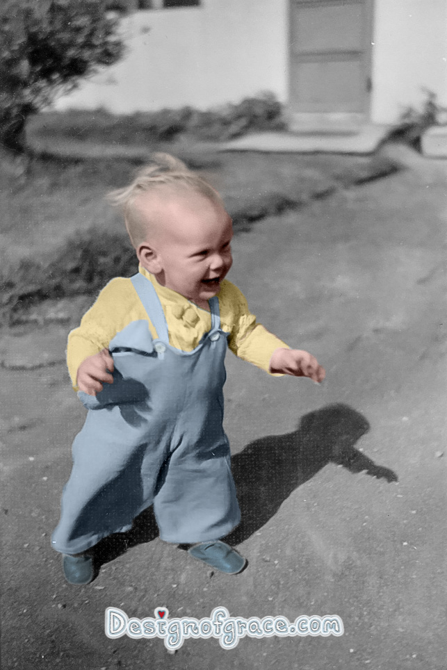 old black and white photo of a baby walking coloured in by me
