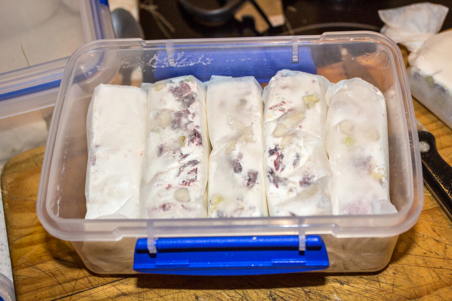 wrapped nougat in an air tight container