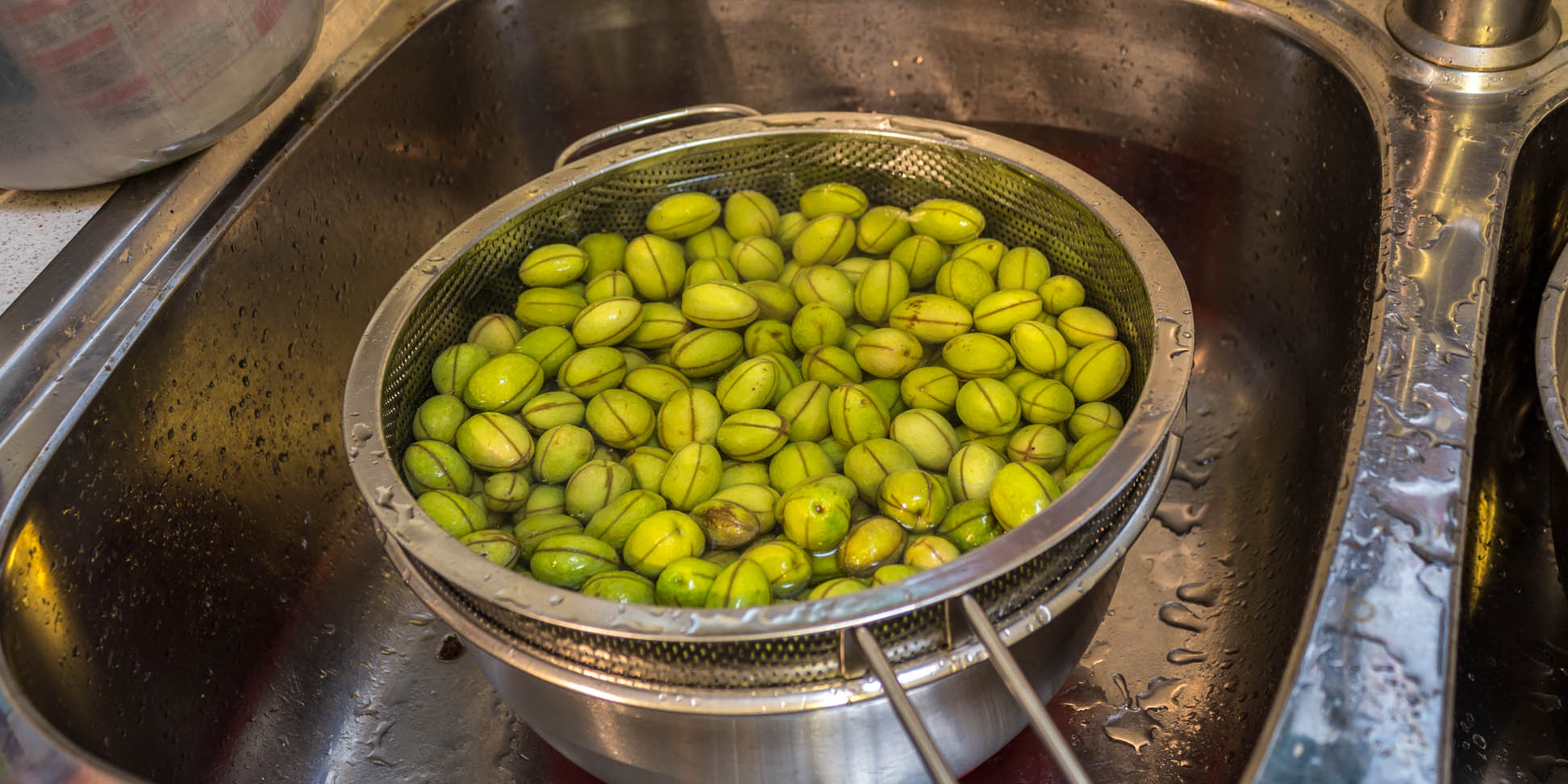 Olives being rinsed