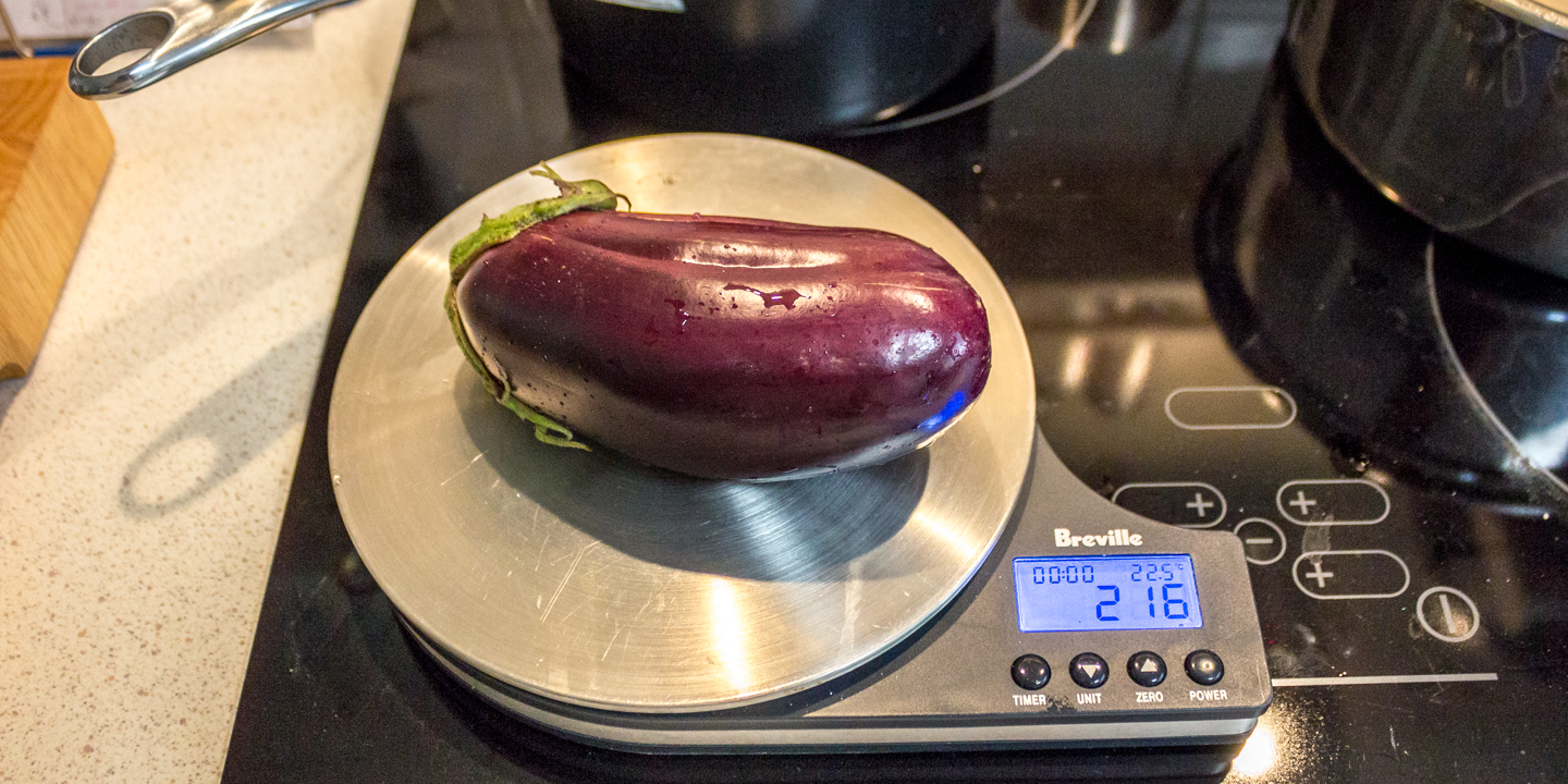 1st eggplant weighing in at 216g