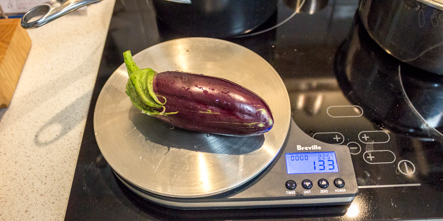 3rd eggplant weighing in at 133g
