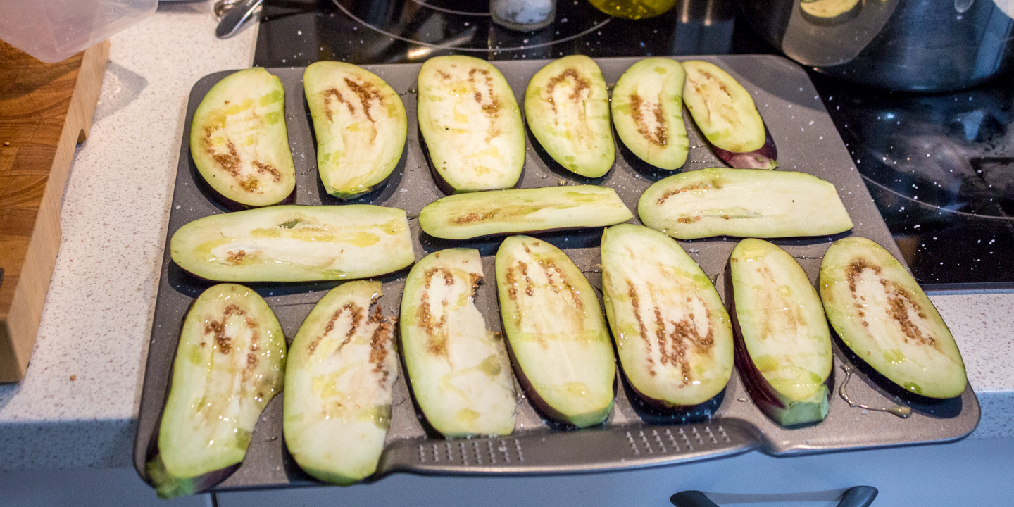 1st step is to wash and slice the eggplant as per the photo. Then sprinkle salt and pepper and drizzle on some olive oil. Repeat on the other side.