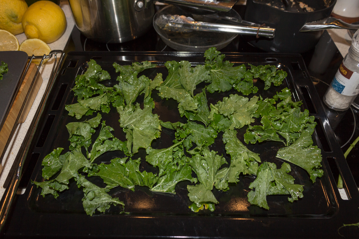 Tear the Kale leaf into bite size pieces and toss Kale in a bowl with olive oil.