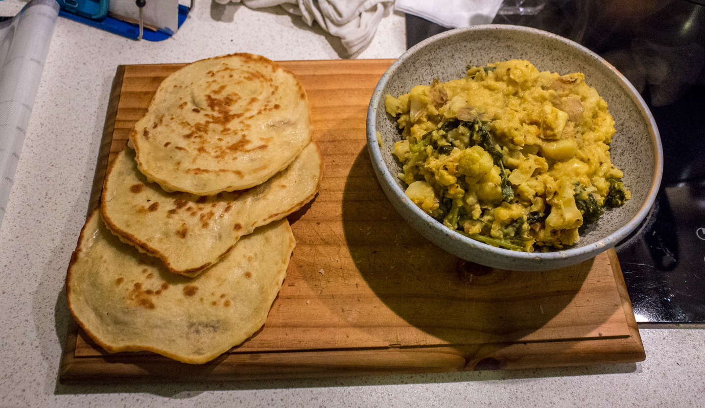 roti prata and vegetable dahl curry.