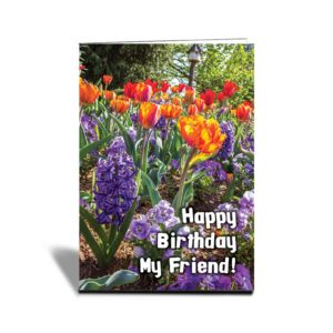 "a vertical greeting card with different flowers of different colours of blue, orange and red. With text in front saying ""Happy Birthday My Friend"""