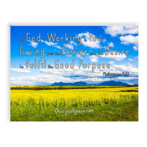 "Stirling ranges with blue skies, yellow canola fields Inspirational Mount with bible verse ""For God is Working in You, Giving you the Power and the Desire to fulfil His Good Purpose"" Philippians 2:13"