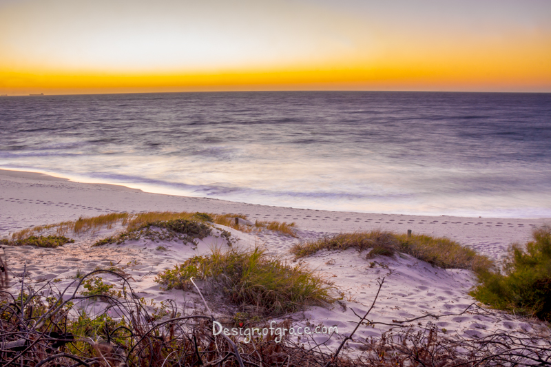 Beautiful orange Sunset at the beach with shrubs on the bottom and smooth ocean from long exposure in the middle, Marine Parade, Cottesloe, Western Australia