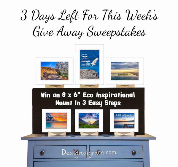 3 Days left for this week's giveaway sweepstakes with the Eco mounts on a blue dresser on black risers