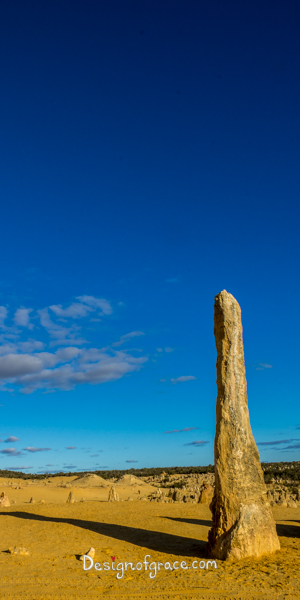 A Lone Pinnacle with beautiful blue skies, Nambung National Park, Nambung, Western Australia