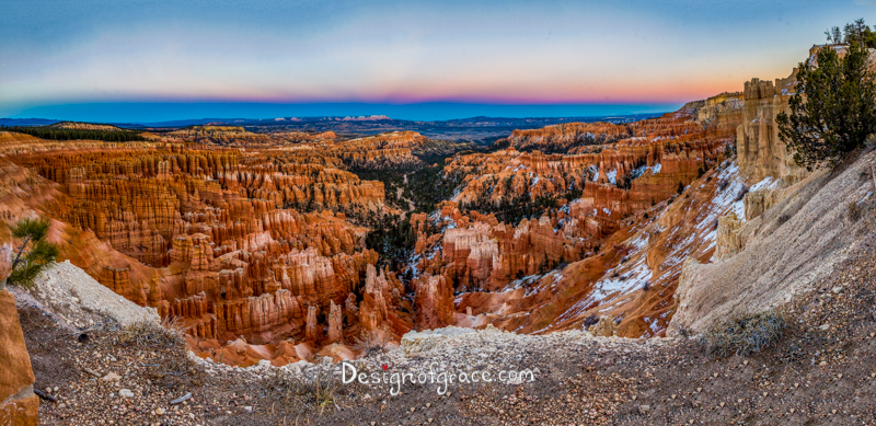 Inspiration Point , Bryce Canyon National Park pink and blue sunset  panorama with red rock formation