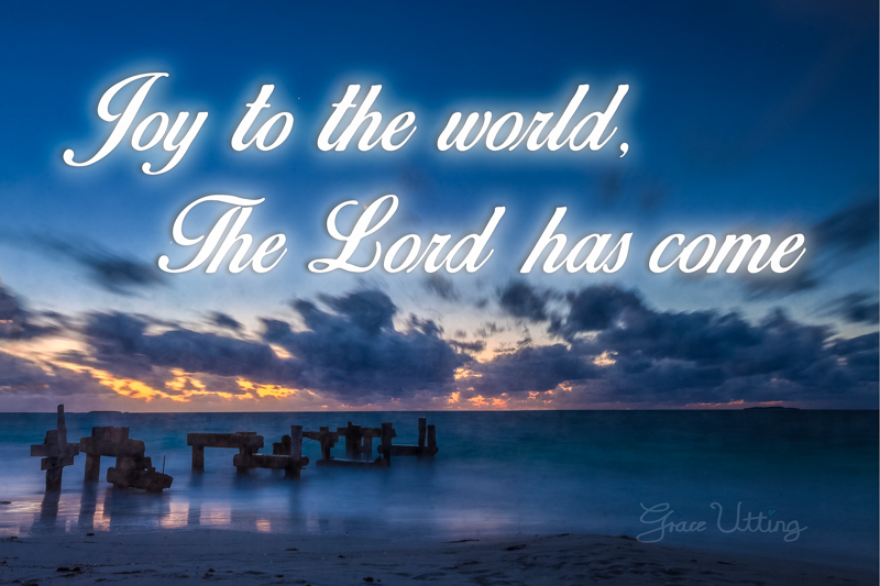 The Broken Jetty at Sunset, Jurien Bay, Western Australia with text Joy to the World The Lord has come